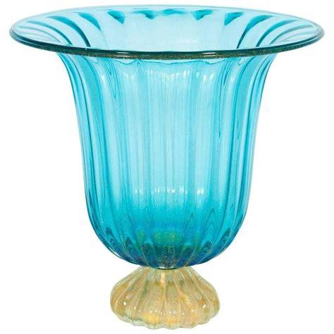 light blue vase italian vase in murano glass light blue and gold 1980s
