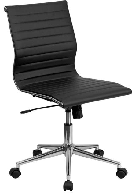 Mid-back Armless Ribbed Upholstered Leather Conference