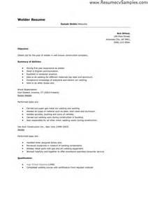 Resume For Welder by Welding Resume Sles Resume Format 2017