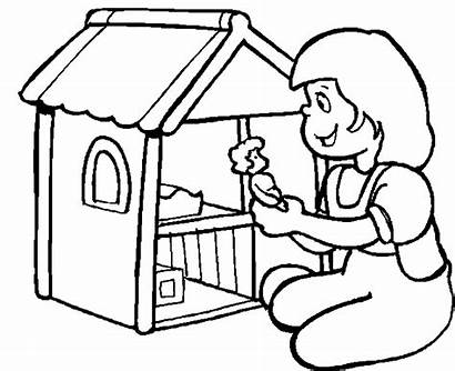 Dollhouse Doll Coloring Pages Drawing Cartoon Clipart