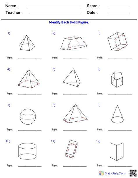 identifying solid figures worksheets math aids