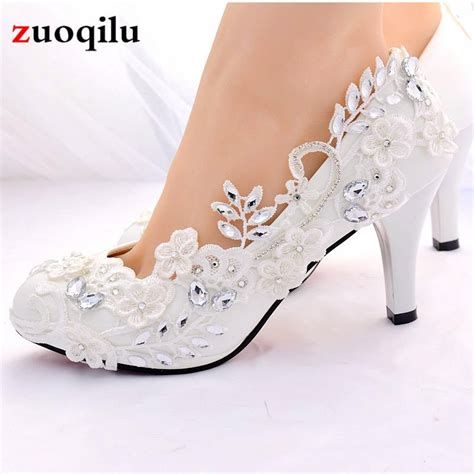 crystal white wedding shoes bride female high heels shoes