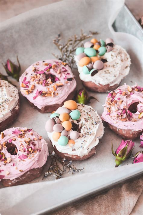 food drink beautifully decorated pastel easter donuts