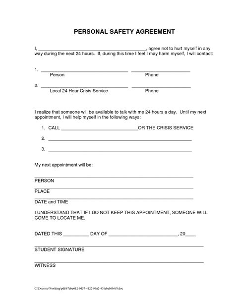Contract For Safety Template by 18 Best Images Of My Relapse Prevention Plan Worksheet