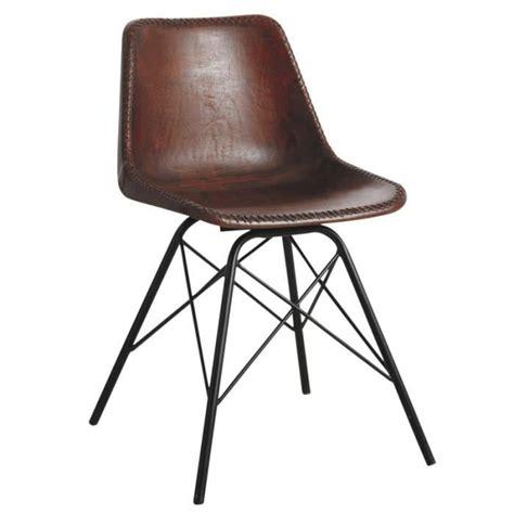 Chaise De Salle A Manger Cuir chaise salle 224 manger en cuir marron et m 233 tal achat