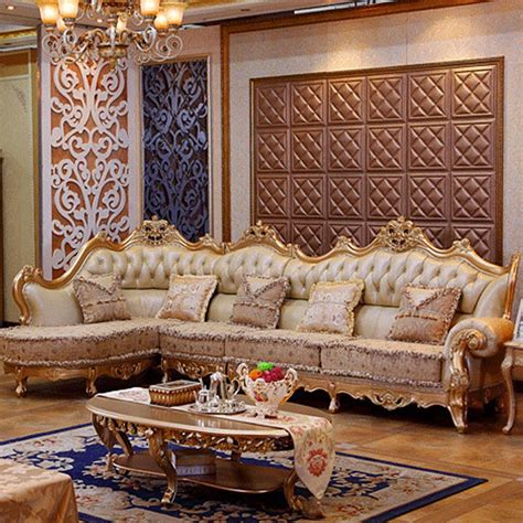 luxury leather sofa living room wood carving  gold