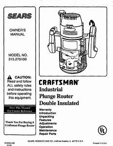 Craftsman 315275100 User Manual Plunge Router Manuals And