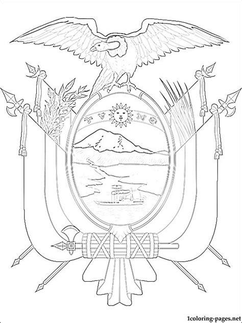 ecuador coat  arms coloring page coloring pages