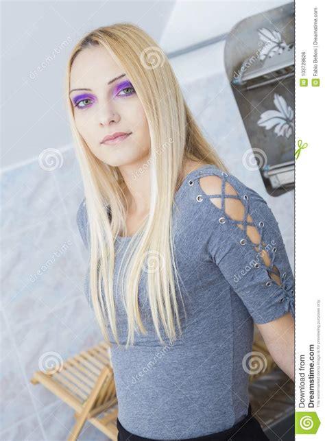 Purple Eyed Blonde Stock Photo Image Of Dress Fashion