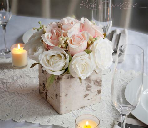 wedding centerpiece rustic blush  ivory rose wedding