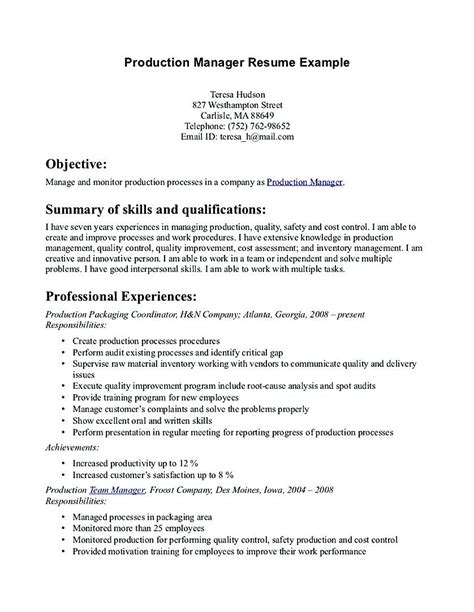 Build a coherent story with a strong sense of direction. Production Manager Resume cover letter , Production Manager Resume , This Production Manager ...