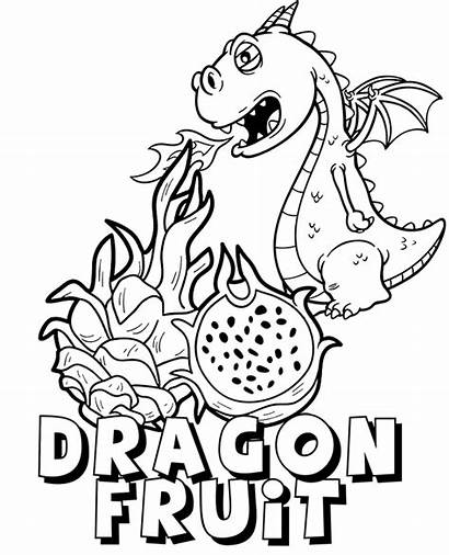 Coloring Fruit Dragon Pages Printable Fruits Exotic