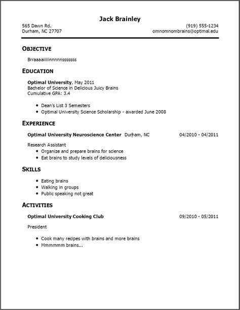 Resume Template No Work Experience by Resume With No Work Experience Resume Format