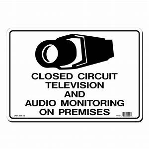 lynch sign 14 in x 10 in black on white plastic closed With open circuit tv