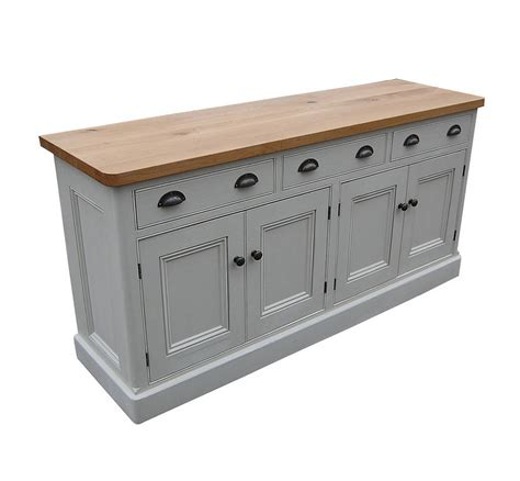 white buffet table with wood top reclaimed painted wood sideboard by eastburn country