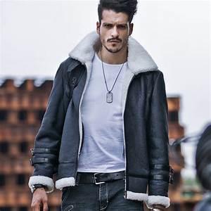 Mens New Style Shearling Sheepskin Coat B3 Bomber Jacket
