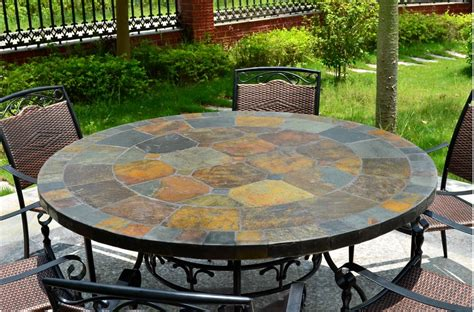 mosaic outdoor dining table 125 160cm round slate patio dining table tiled mosaic oceane