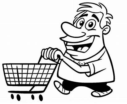 Shopping Cart Coloring Cartoon Printable Guy Pages