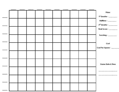 football squares template pdf football boxes template invitation template
