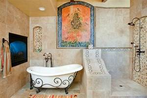 salle de bain decoration mediterraneenne et bord de mer With salle de bain design avec décoration murale fer forgé design