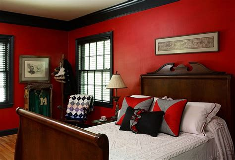 Red Bedrooms : Red, Black And White Interiors