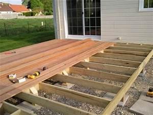 pose terrasse bois sur plot beton castorama terrassefc sol With poser une terrasse en bois sur sol meuble
