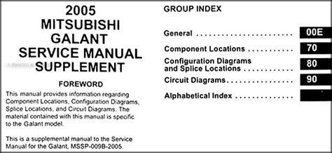 2005 mitsubishi galant wiring diagram manual original