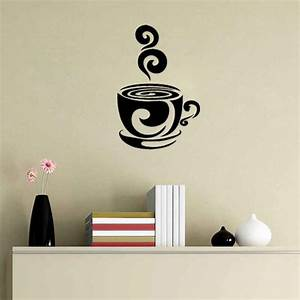 swirl coffee cup cafe vinyl wall art decal stickers With kitchen colors with white cabinets with wall art vinyl decals