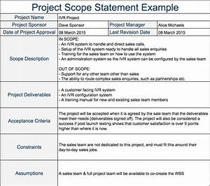 sample scope document template - project scope document project scope template