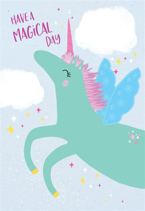 unicorn day birthday card   island