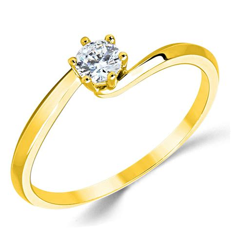 14k solid yellow gold cz cubic zirconia solitaire engagement promise ring ebay