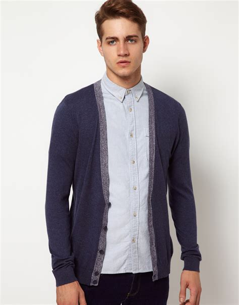 mens cardigan sweaters navy asos asos cardigan with contrast trim in blue for lyst