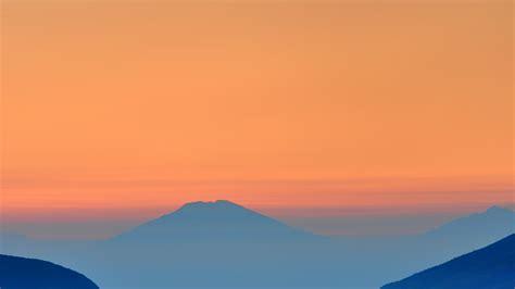 landscape sunrise mountain nature red blue papersco