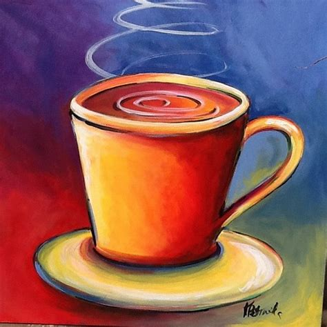 Coffee Cup 30x30 Original Acrylic Painting  Luna Gale