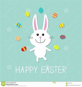 Happy Easter Sign With Cute Bunny Cartoon Vector ...