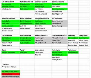 Patriots Projected Depth Chart  Pre-training Camp