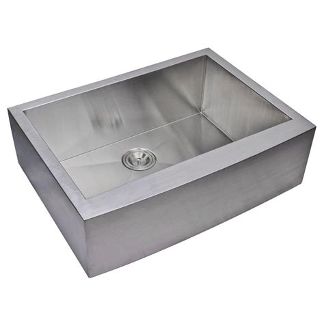 single bowl stainless kitchen sink water creation farmhouse apron front zero radius stainless 7957
