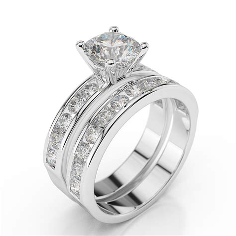 1 3 4 ct diamond engagement ring set round h si1 14k white