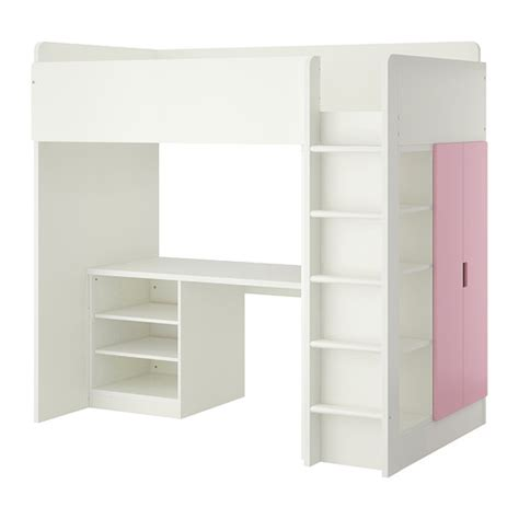 stuva loft bed combo w 2 shelves 2 doors white pink ikea