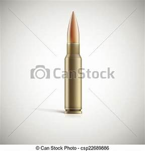 Single Bullet. Cartridge For Rifle Or... Vector Clip Art ...