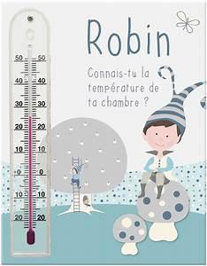 Cadre thermomètre prénom pour chambre bébé garçon avec
