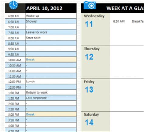 personal daily schedule  excel templates