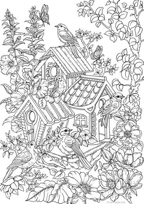 Birdhouse - Printable Adult Coloring Page from Favoreads