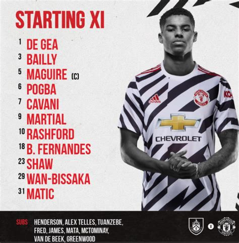 CONFIRMED: Manchester United Starting XI vs Burnley ...