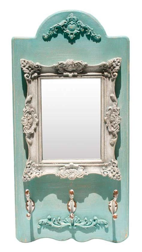 Shabby Vintage Ornate Mirror French Grey  Teal Green