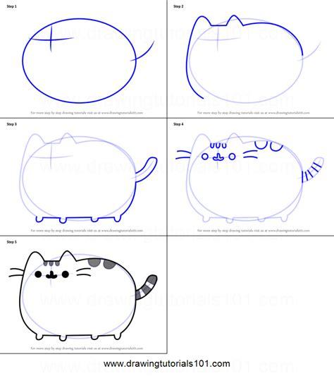 draw pusheen  cat printable step  step drawing