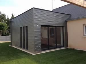 extension ossature bois moderne bardage peint sivalbp gris With maison bois toit plat 10 descentes de charges pour une maison en ossature bois