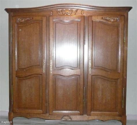 armoire 3 portes chêne massif rustique style régence