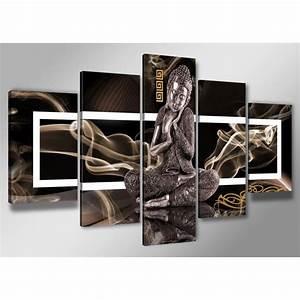 Tableau 5 Parties : tableau moderne imprim 200 x 100 cm bouddha achat vente tableau toile toile bois ~ Teatrodelosmanantiales.com Idées de Décoration