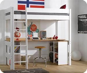 Lit Mezzanine Blanc : lit mezzanine clay blanc avec bureau ~ Teatrodelosmanantiales.com Idées de Décoration